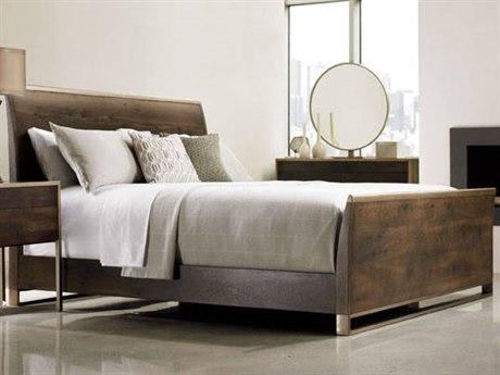 Caracole Modern Artisans Dark Fumed Oak with Matte Gold King Size Sleigh Bed CAMATSKINBED002