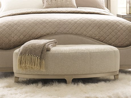 Caracole Compositions Avondale Off White / Soft Silver Oval Accent Bench CASC020417051A