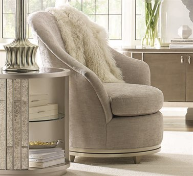 Caracole Compositions Avondale Pearlescent Chenille / Soft Silver Swivel Accent Chair