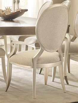 Caracole Compositions Avondale Brushed Tweed with Soft Silver Dining Arm Chair (Set of 2) CASC022417272