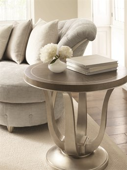 Caracole Compositions Avondale Elegant Linen / Soft Silver 28'' Wide Round End Table CASC021417411
