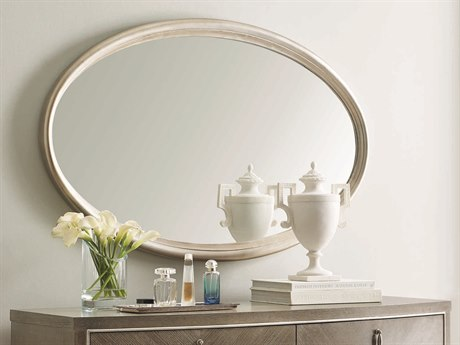 Caracole Compositions Avondale Soft Silver Leaf 30''W x 47''H Oval Wall Mirror CASC023417041