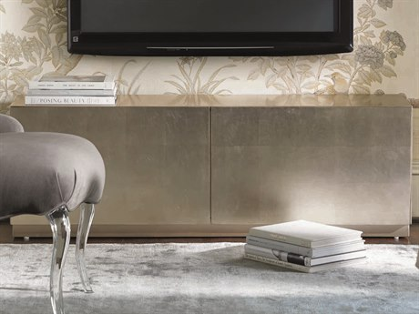 Caracole Classic Taupe Silver Leaf 55''W x 15''D Rectangular Media Cabinet CACCONCLOSTO076