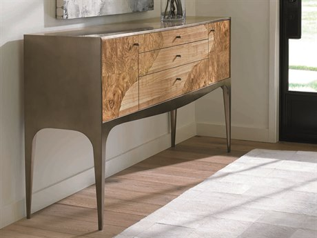 Caracole Classic Mixed Brushed Antique Brass with Natural Burl & Longwood 68''W x 16''D Sideboard CACCLA015251