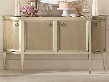 Caracole Classic Cream Stone with Smoke / Taupe Silver Leaf 76''W x 19''D Demilune Sideboard CACCLA417682