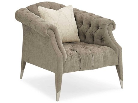 Caracole Classic Just Tuft Enough Soft Brushed Grey Chenille Accent Chair CACUPH0170313A
