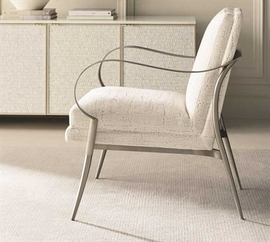 Caracole Classic In One Fell Swoop Soft Ivory / Lightly Brushed Chrome Accent Chair CACUPH017232A