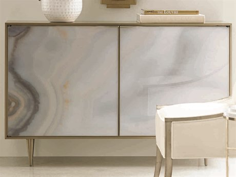 Caracole Classic Brushed Gold with Agate Accent Cabinet CACCLA015054