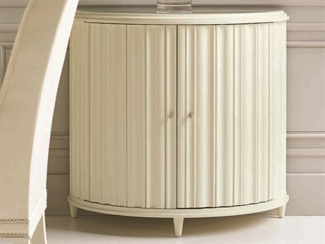Caracole Classic Scalloped Demilune Pure Ivory Hall Chest CACCLA016544