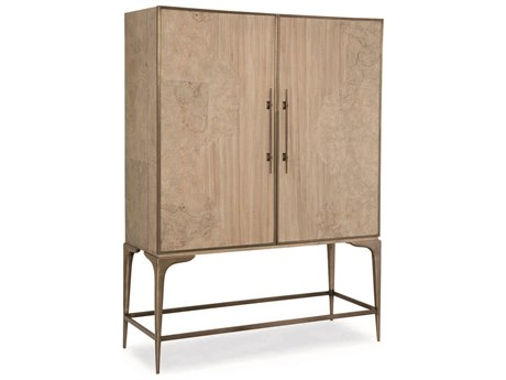 Caracole Classic Mist Longwood & Burl Bar Cabinet CACCLA015492