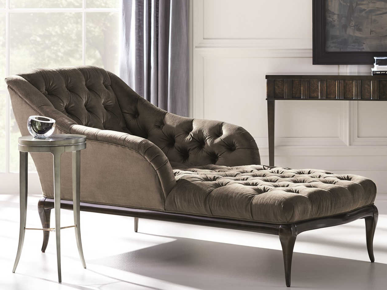 Caracole Classic All Buttoned Up Rich Charcoal Velvet / Dark Roast Chaise  Lounge