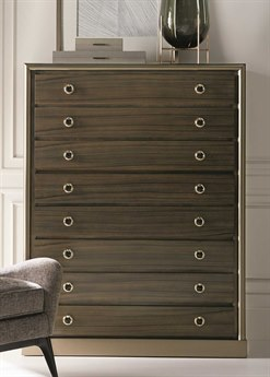 Caracole Classic Double Breasted Tailoring Sepia / Harvest Bronze 46''W x 20''D Rectangular Five-Drawer Chest of Drawers CACCLA017051