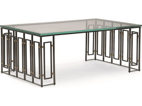 Caracole Classic Art Deco Glass with Graphite & Gold Bullion 49''W x 28''D Rectangular Cocktail Table CACCLA015408