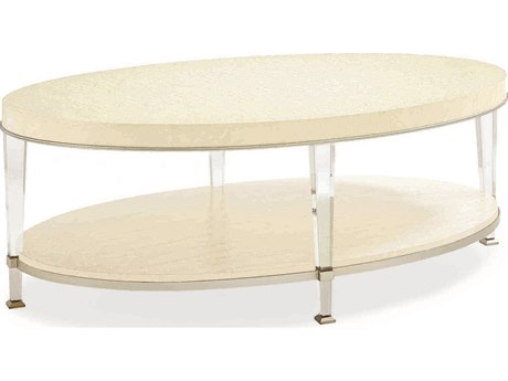 Caracole Classic Birdseye Ivory 48''W x 28''D Oval Cocktail Table