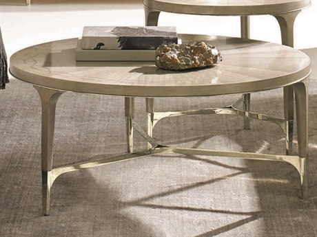 Caracole Classic Champagne Shimmer with Taupe / Whisper of Gold 39'' Wide Round Cocktail Table