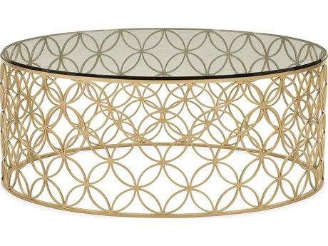 Caracole Classic Bubbling Tempered Glass / Soft Gold 42'' Wide Round Coffee Table CACCLA017404