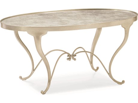Caracole Classic Elgomise Taupe Silver Leaf 37''W x 22''D Oval Cocktail Table CACCLA417402