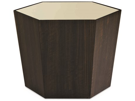 Caracole Classic Gold / French Roast 28'' Wide Hexagon Cocktail Table CACCONCOCTAB023