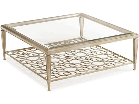 Caracole Classic Taupe Silver Leaf 50'' Wide Square Cocktail Table with Fretwork Shelf CACCONCOCTAB024