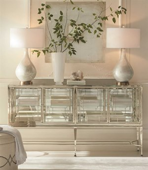 Caracole Classic Clear Glass / Whisper of Gold 68''W x 16''D Rectangular Console Table CACCLA017681