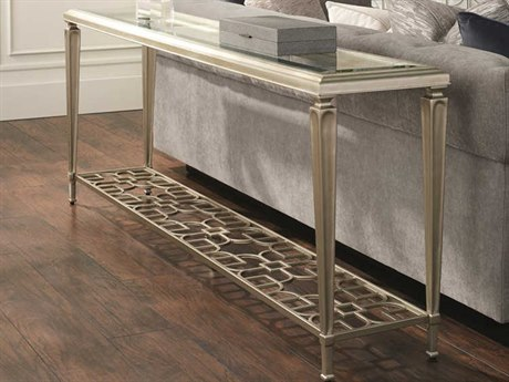 Caracole Classic Clear Tempered Glass / Taupe Silver Leaf 77'' Wide Rectangular Console Table CACCLA418442