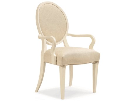 Caracole Classic Ivory Shimmer Round Back Dining Arm Chair  (Set of 2)