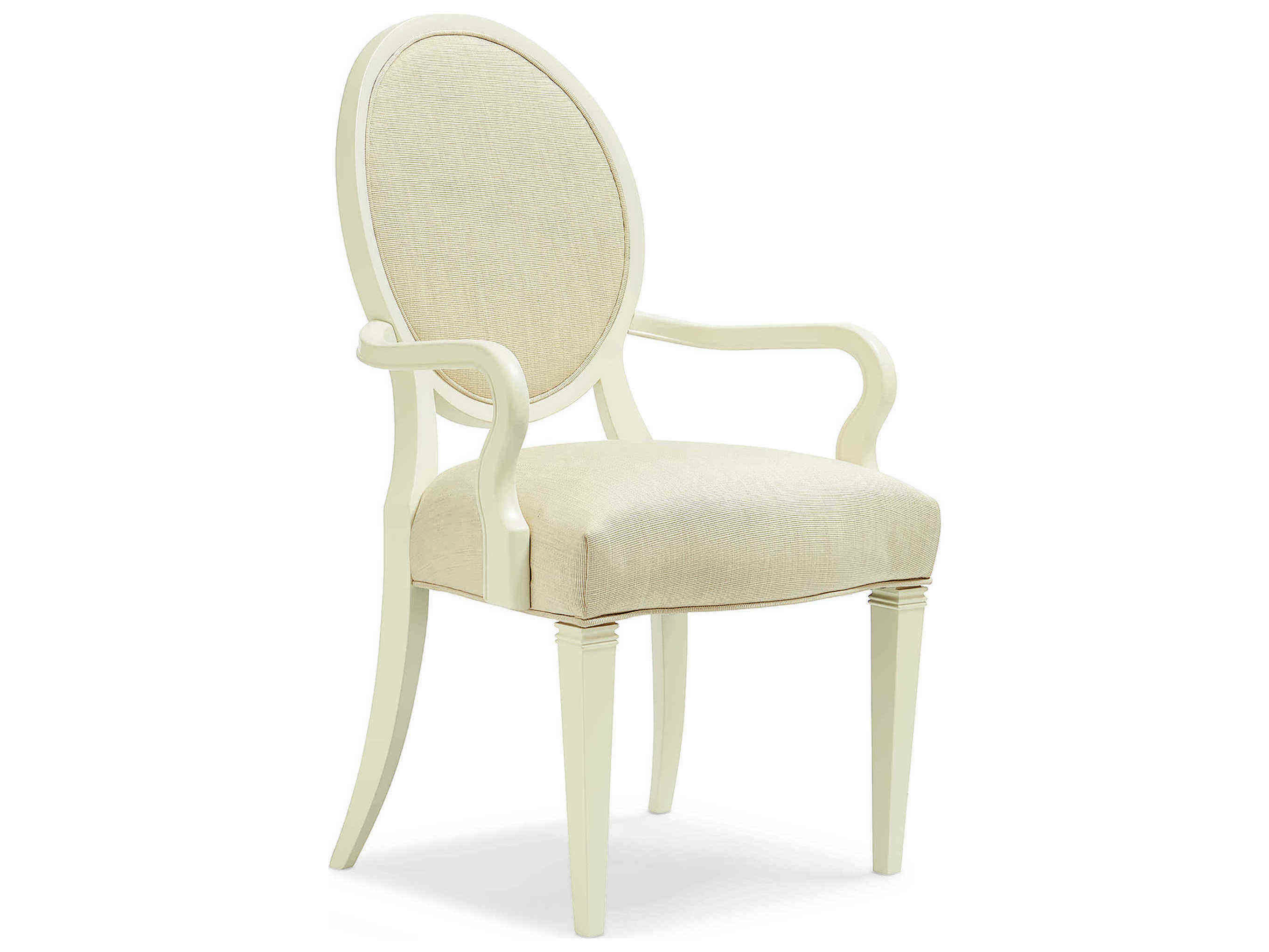 Caracole Classic Ivory Shimmer Round Back Dining Arm Chair ...