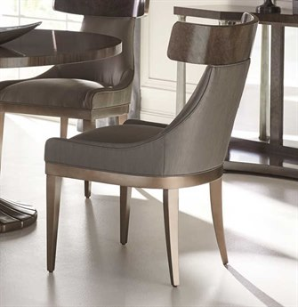 Caracole Classic Sitting In Style Smoky Grey with Sepia Burl / Harvest Bronze Dining Side Chair