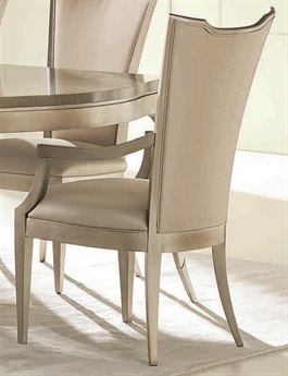 Caracole Classic Silver Leaf High Back Dining Arm Chair (Set of 2) CACCLA417272