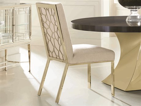 Caracole Classic Beige / Gold Bullion Dining Side Chair (Sold in 2) CACCONSIDCHA010