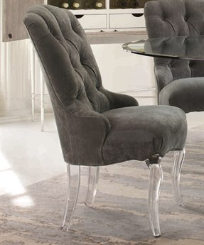 Caracole Classic Warm Grey Tufted Dining Side Chair (Sold in 2) CACTRASIDCHA009