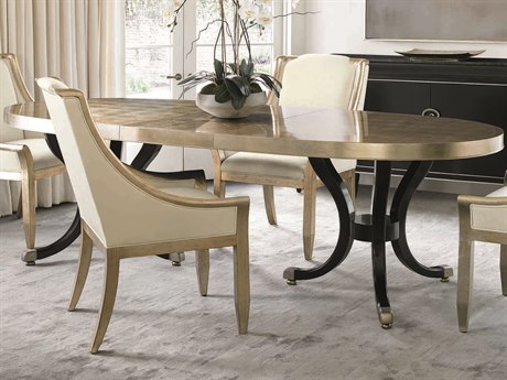 Caracole Classic Taupe Silver Leaf with Gold & Satin Ebony 82-120''W x 42''D Oval Dining Table with Extension CACCLA015206