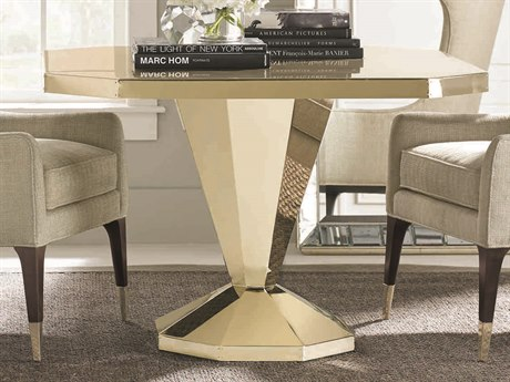 Caracole Classic Whisper of Gold 44'' Wide Hexagon Pedestal Dining Table with Rivets CACCLA016201
