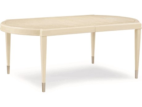 Caracole Classic Birdseye Soft Radiance / Pure Ivory with Sheer Ecru 78-114''W x 46''D Oval Dining Table with Extension CACCLA016203