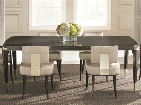 Caracole Classic Charcoal Anegre with Seal Skin / Whisper of Gold 83-123''W x 46''D Rectangular Dining Table with Extension CACCLA016205