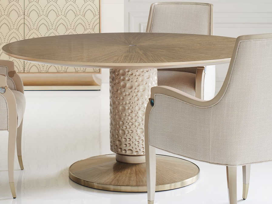 Caracole Clic Dled Mink Warm Reflections 60 Wide Round Dining Table