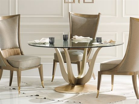 Caracole Classic Champagne Gold / Golden Blonde Leaf 60'' Wide Round Dining Table CACCLA018204