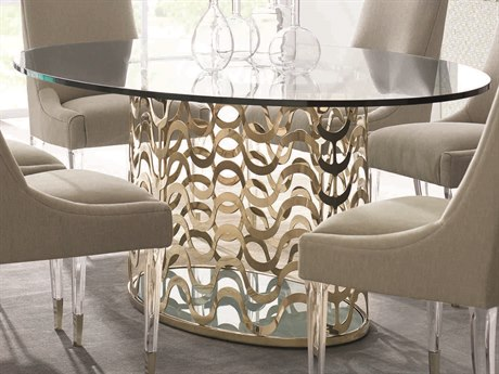 Caracole Classic Whisper of Gold 76''W x 48''D Oval Dining Table CACCLA416203