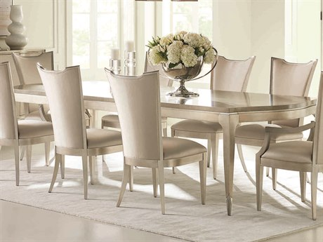 Caracole Classic Moonlit Sand / Soft Silver Leaf 96-144''W x 46''D Rectangular Dining Table with Extension