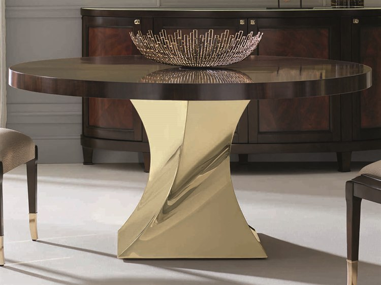 Caracole Clic French Roast Gold Bullion 60 Wide Round Dining Table