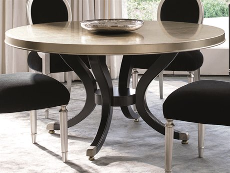 Caracole Classic Taupe Silver Leaf with Gold Leaf / Satin Ebony 60'' Wide Round Pedestal Dining Table CACTRADINTAB006