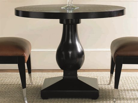 Caracole Classic Caviar Black 36'' Wide Round Pedestal Dining Table CACTRASIDTAB001