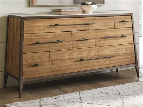 Caracole Classic Natural Longwood With Dark Bronze 7 Drawers Double Dresser CACCLA015014