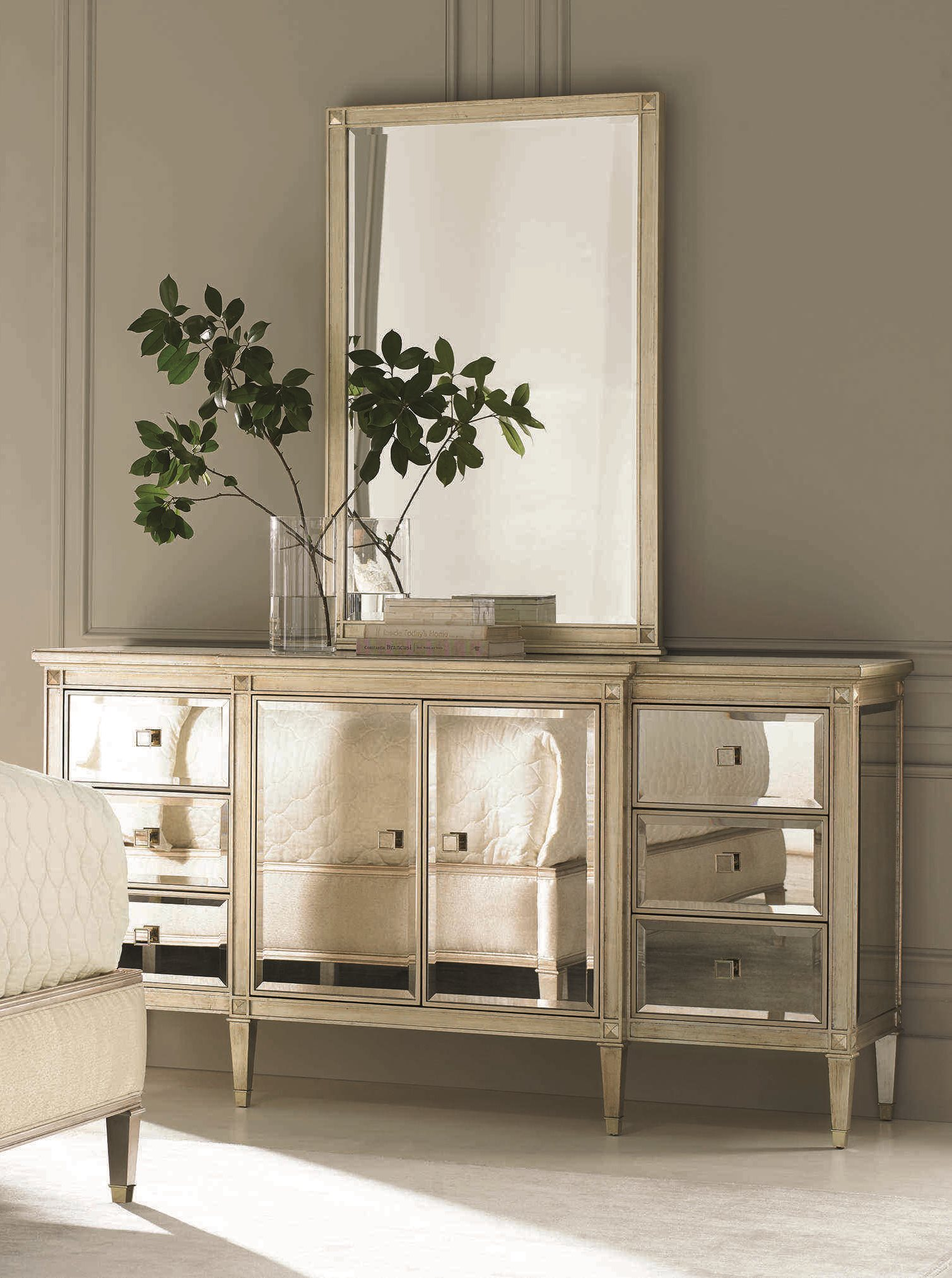 Caracole Classic Six Drawer Double Dresser With Wall Mirror Set