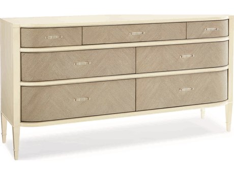 Caracole Classic White / Heron Grey Severn-Drawer Double Dresser CACCLA416011