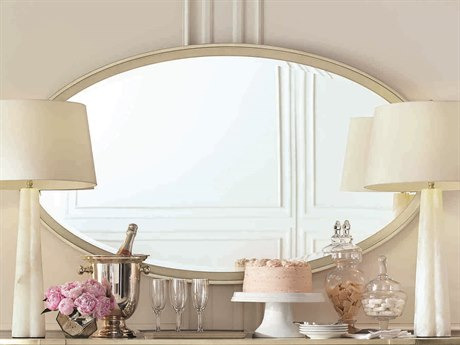 Caracole Classic Taupe Silver Leaf 60''W x 34''H Oval Wall Mirror CACCLA417046