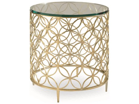 Caracole Classic Fretwork Soft Gold 22'' Wide Round Drum Table CACCONSIDTAB017