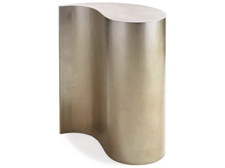 Caracole Classic Ombre Warm Silver Leaf 12''W x 24''D Drum Table CACCONSIDTAB034