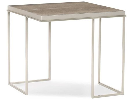 Caracole Classic Play The Angles Silver Travertine / Lightly Brushed Chrome 26'' Wide Square End Table CACCLA0174116