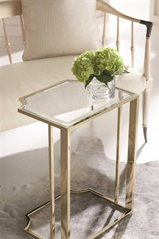 Caracole Classic Short And Sweet Tempered Glass / Whisper of Gold 18''W x 14''D Rectangular End Table CACCLA017421